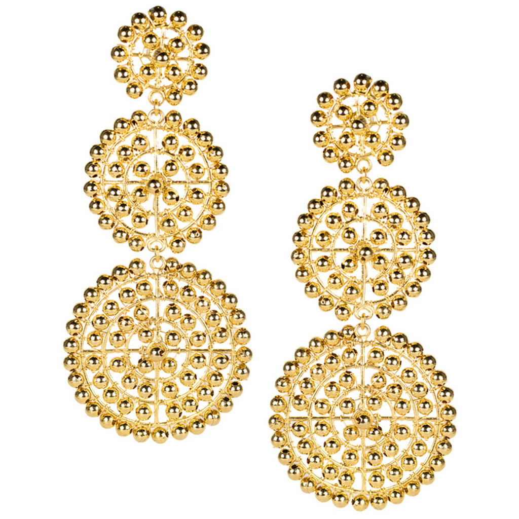Greta Earrings in Beaded Gold