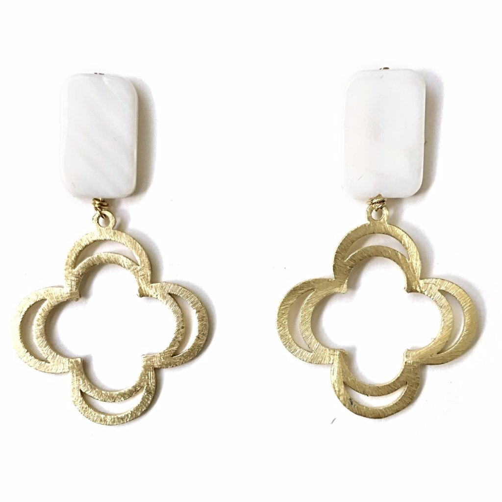 Mother of Pearl Clover Earrings