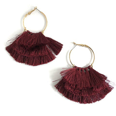 Gypsy Hoops in Burgundy