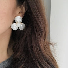 Large Petal Studs in Mother of Pearl
