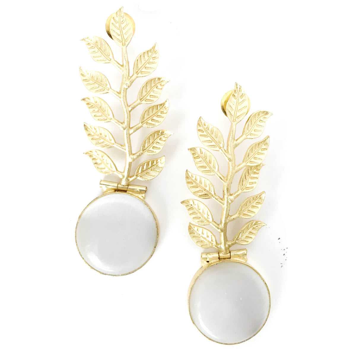 Moonstone with Golden Leaf Stud