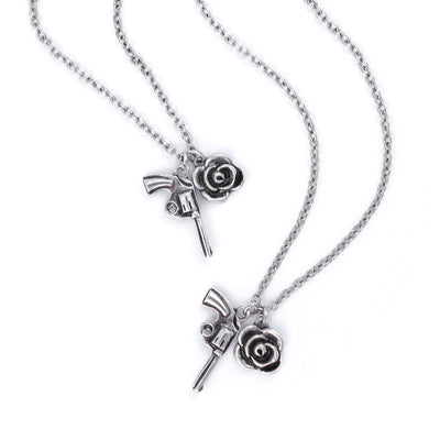 Guns N' Roses Charm Necklace & Bracelet Set