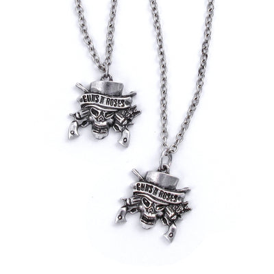 Guns N' Roses Skull Necklace & Bracelet Set