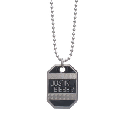 Justin Bieber Patterned Dog Tag Necklace