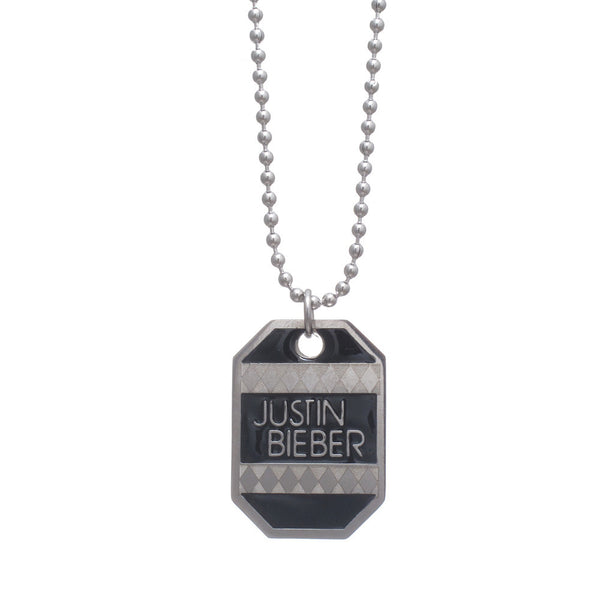 Justin Bieber Patterned Dog Tag Necklace By Gioia
