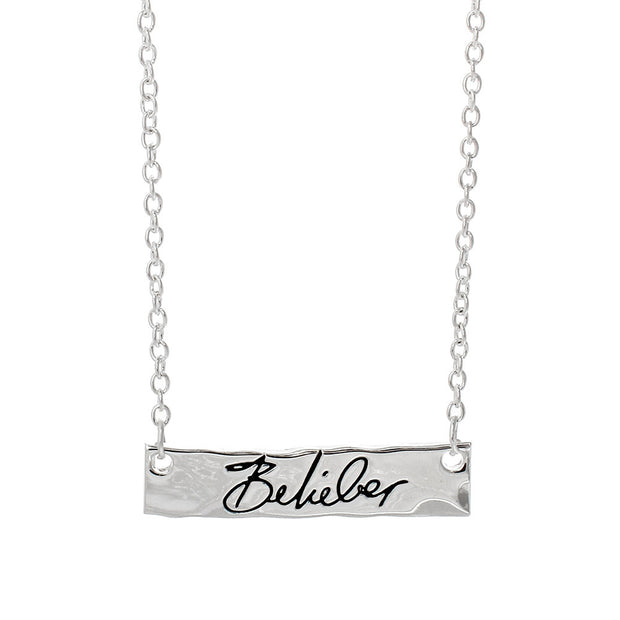 Justin Bieber Belieber Script Bar Necklace