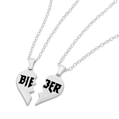 Justin Bieber Split Heart Necklace Set