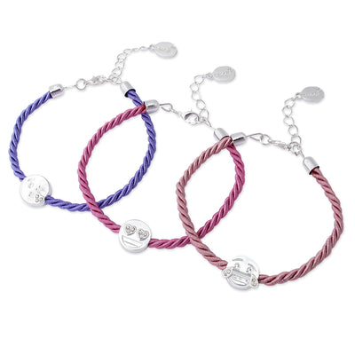 emoji® Laughing, Heart Eyes and Kisses Triple Bracelet Set