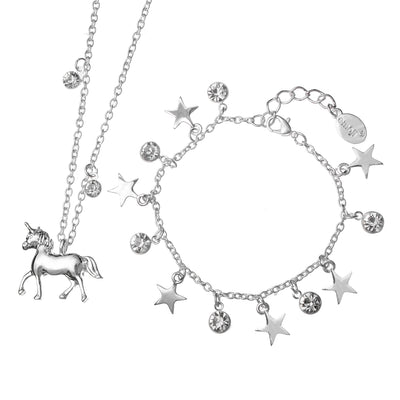 emoji® Unicorn Necklace & Starry Bracelet Set