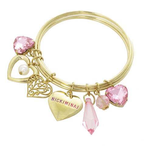 Nicki Minaj Heart Charm Necklace & Bracelet Set