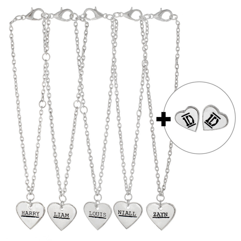 One Direction 5 Name Heart Bracelets and Earrings Set