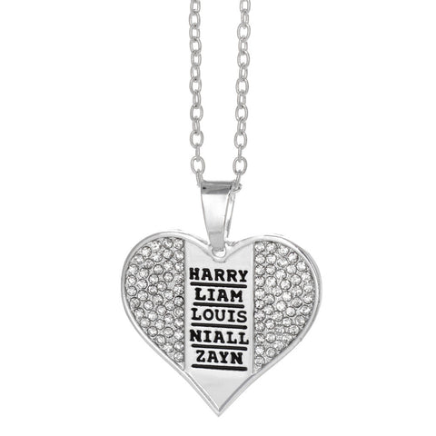 One Direction Name Stamp Crystal Heart Necklace