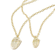 The Rolling Stones Gold Tongue Necklace & Bracelet Set