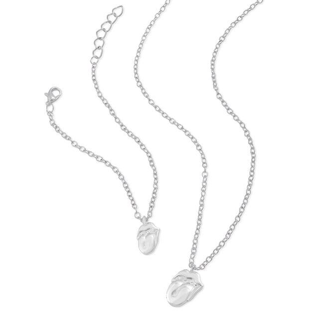 The Rolling Stones Silver Tongue Necklace & Bracelet Set