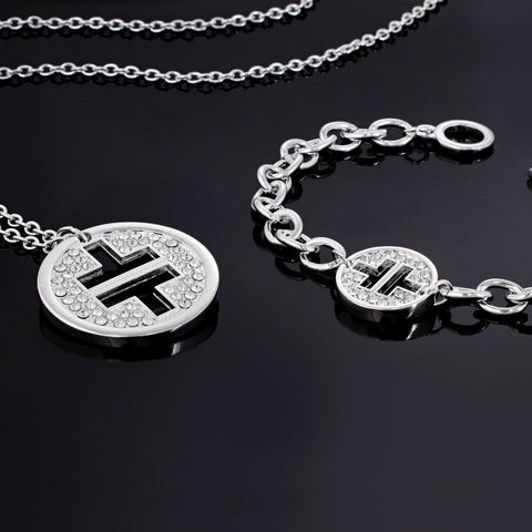Take That Crystal Logo Necklace & Bracelet Set