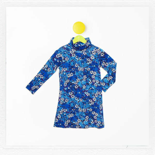 """Emmie"" Turtleneck Dress in Liberty Print Jersey ""Mushaboom"""