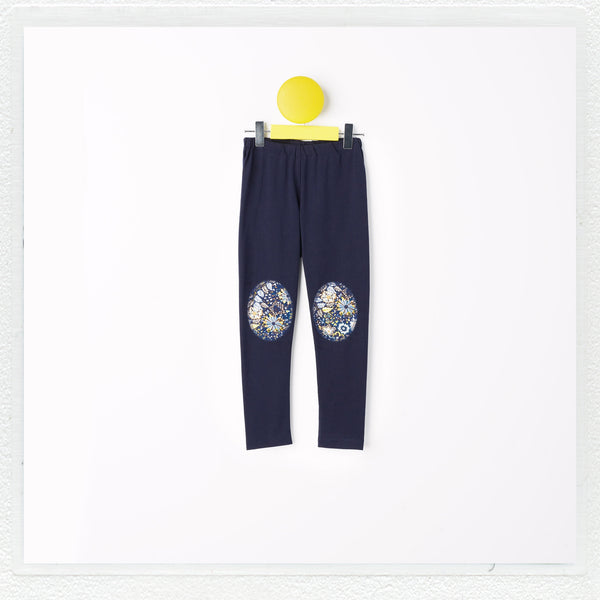"""Georgie"" Patch Leggings in Navy with Liberty Print Jersey ""Domenic C"" Patches"