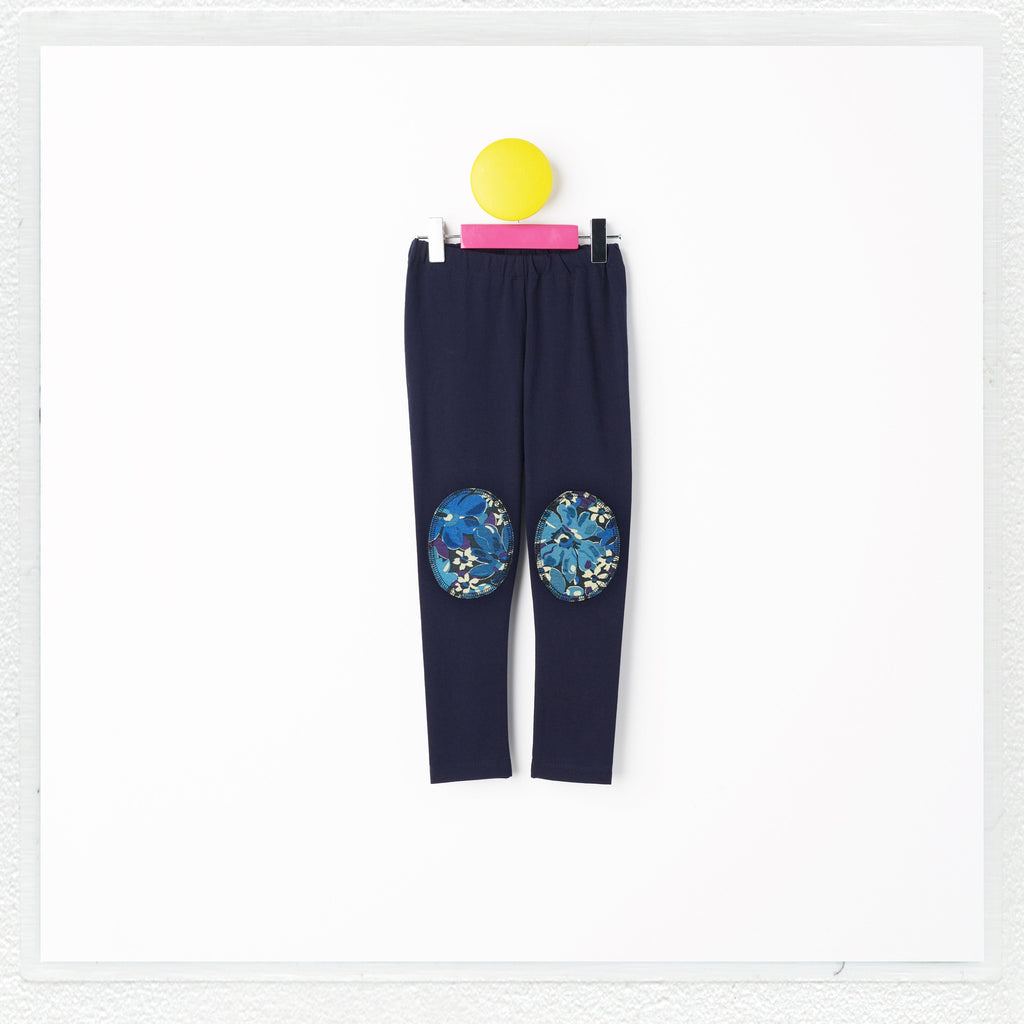 """Georgie"" Patch Leggings in Navy with Liberty Print Jersey ""Mushaboom"" Patches"