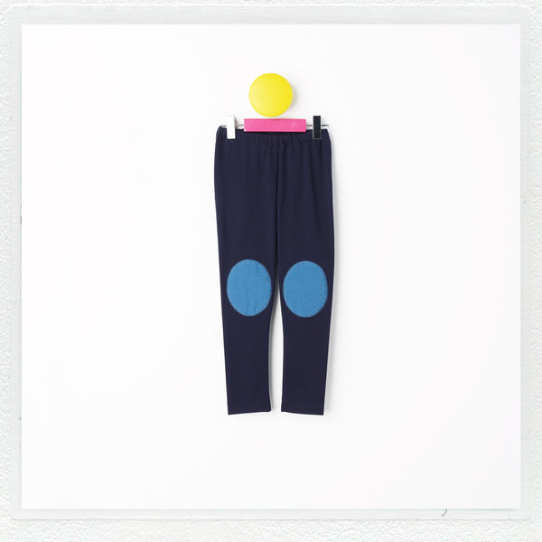 """Georgie"" Patch Leggings in Navy With Teal Patches"