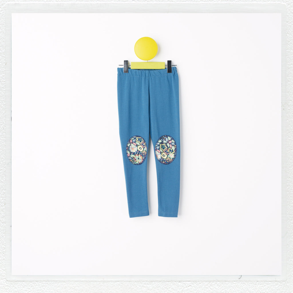 """Georgie"" Patch Leggings in Teal with Liberty Print Jersey ""Domenic B"" Patches"