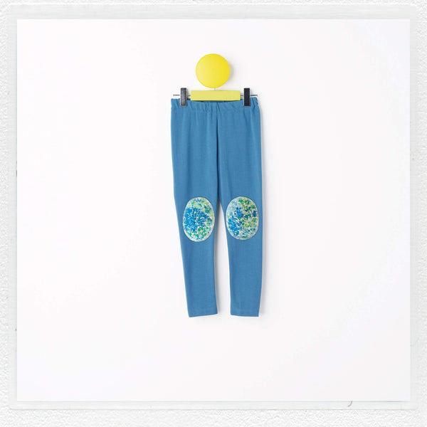 """Georgie"" Patch Leggings in Teal with Liberty Print Jersey ""Mary Jean"" Patches"