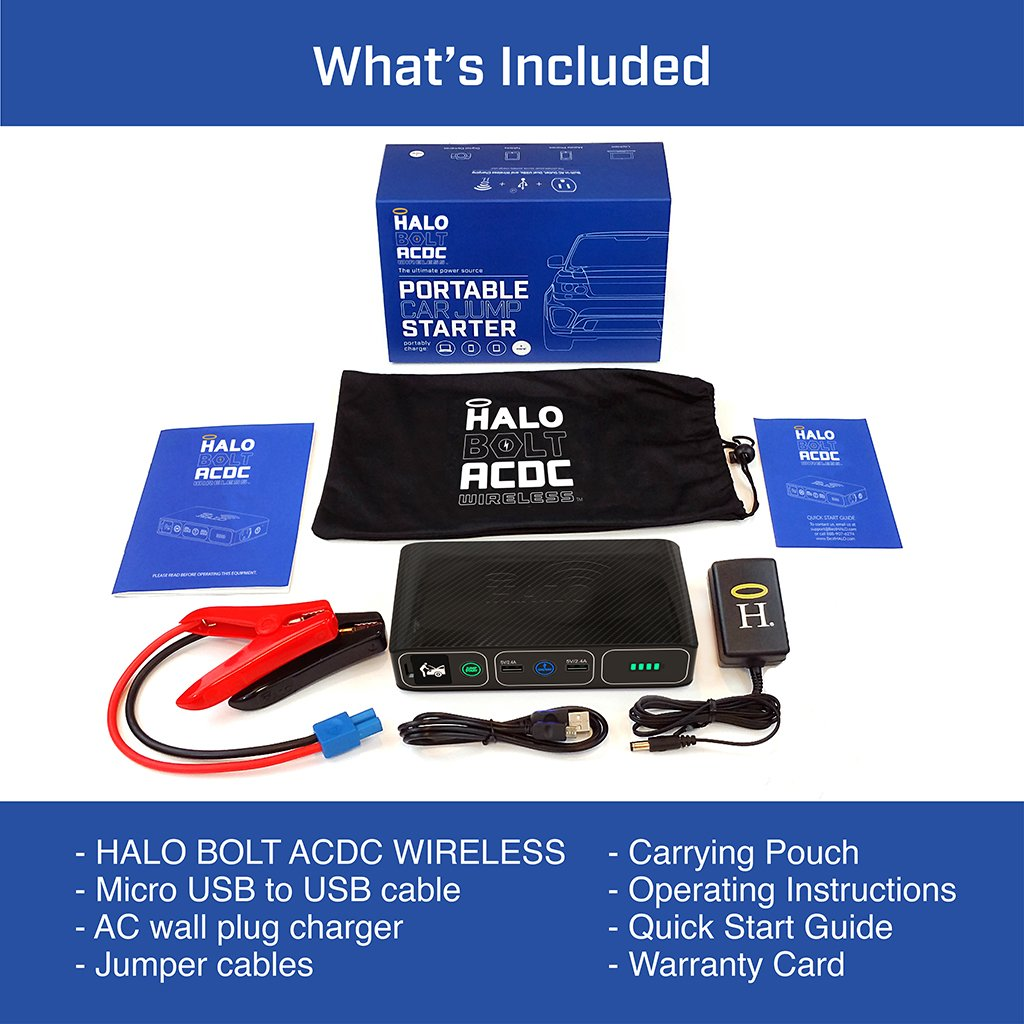Halo Bolt Acdc Wireless Portable Charger Car Jumper