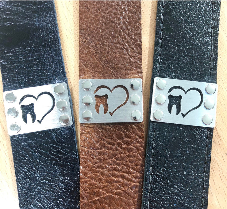 Leather Tooth Bracelets