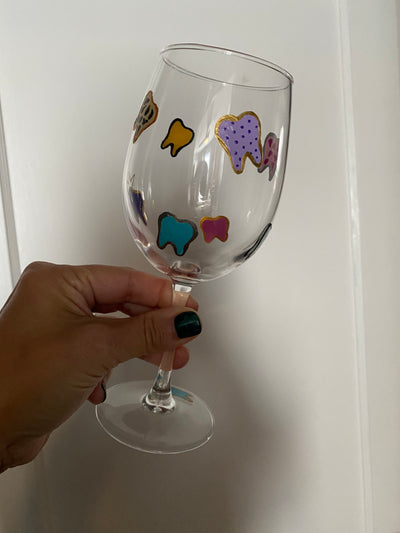 Hand painted Tooth Wine Glasses