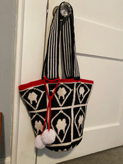 Red, Black and White Tooth Tote