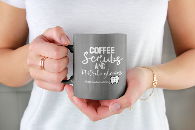 Coffee, Scrubs and Nitrile Gloves Coffee Mug