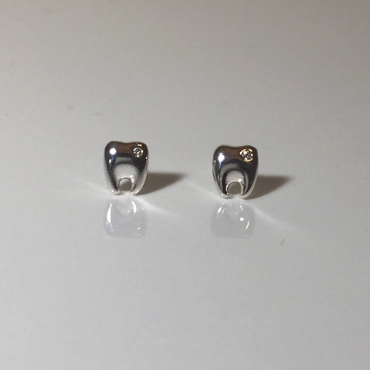 Tooth Buds with Diamond Earrings