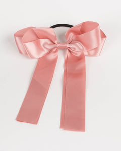 Pink Satin Bow Hair Tie