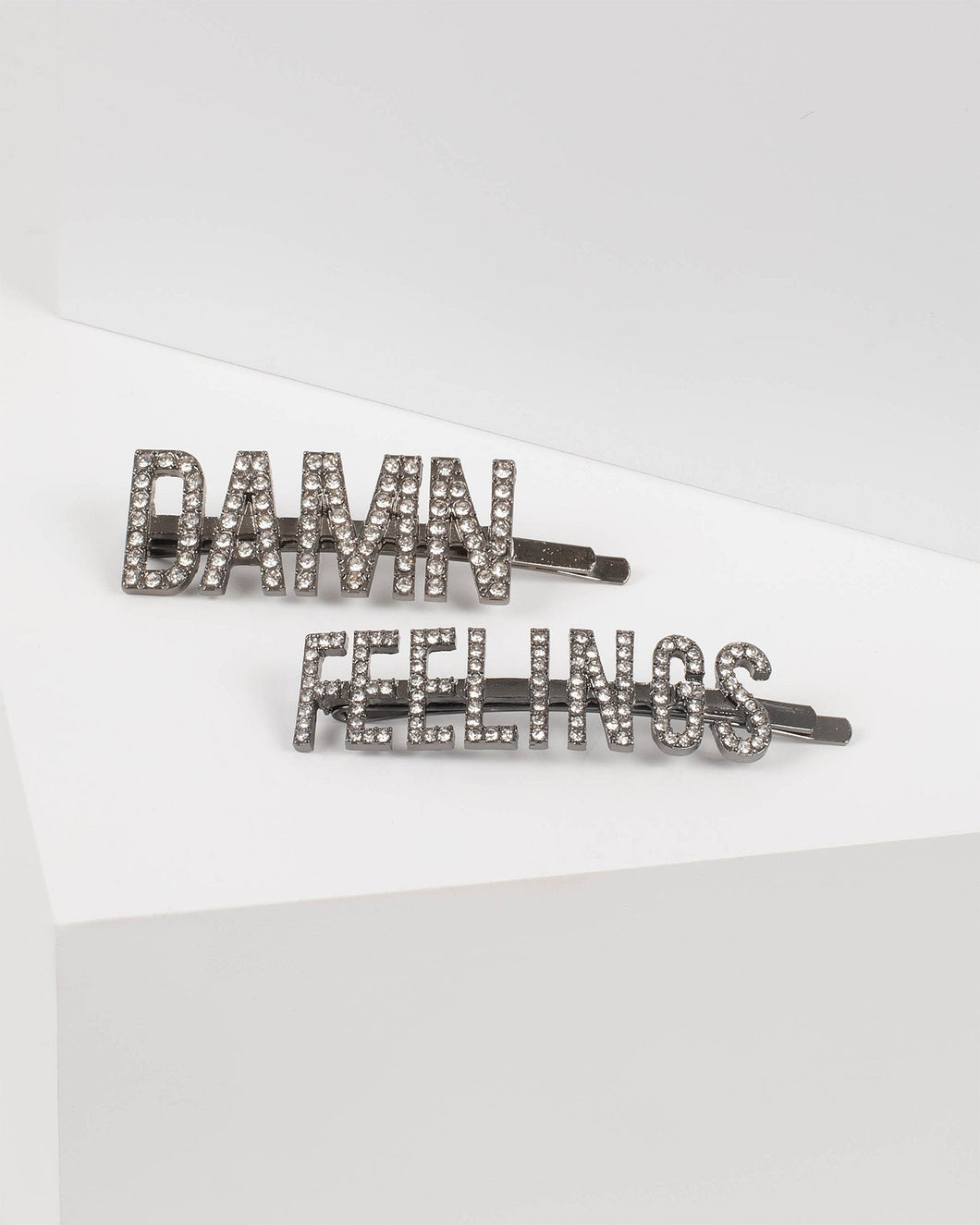 Crystal Damn Feelings Text Hair Slide