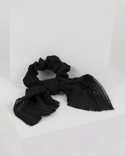 Black Pleated Bow Scrunchie