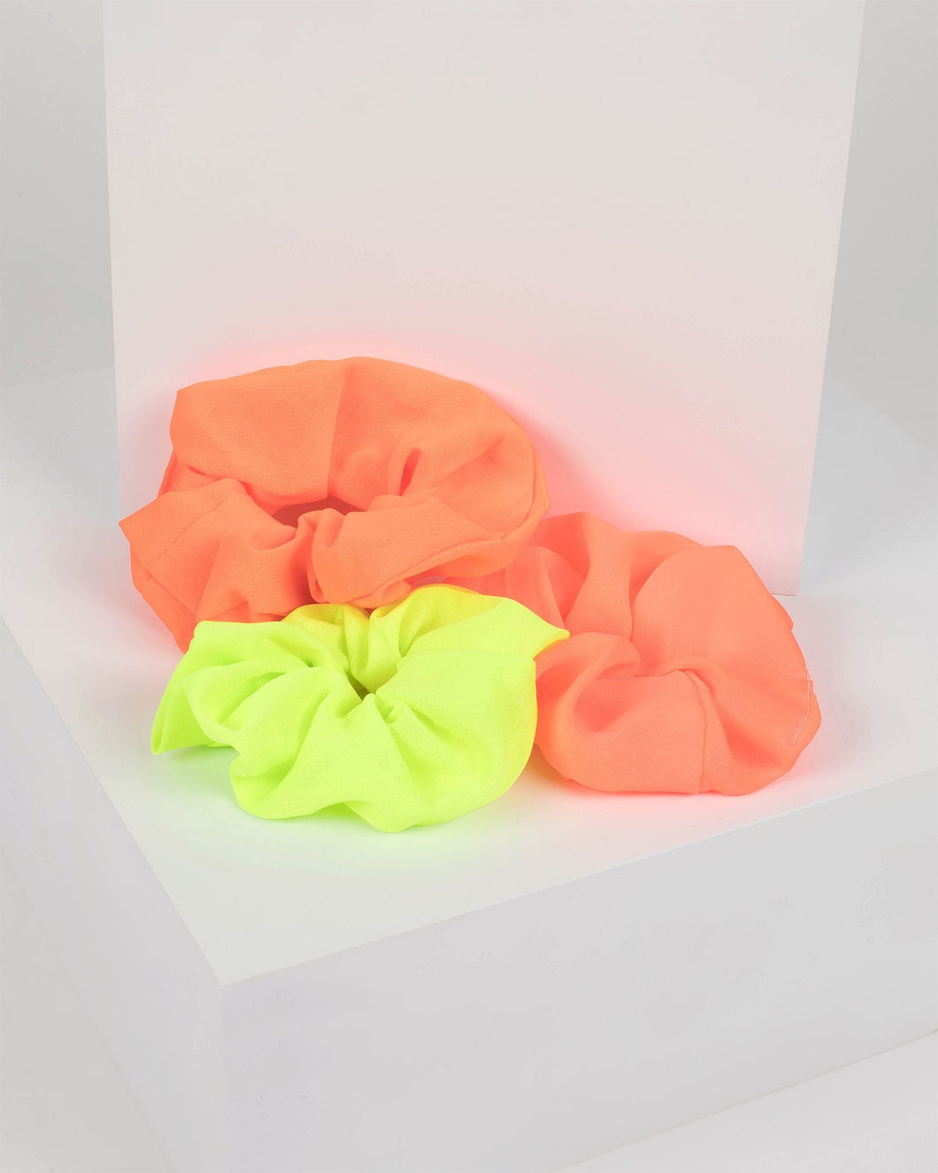 Orange and Green Neon Hair Scrunchies