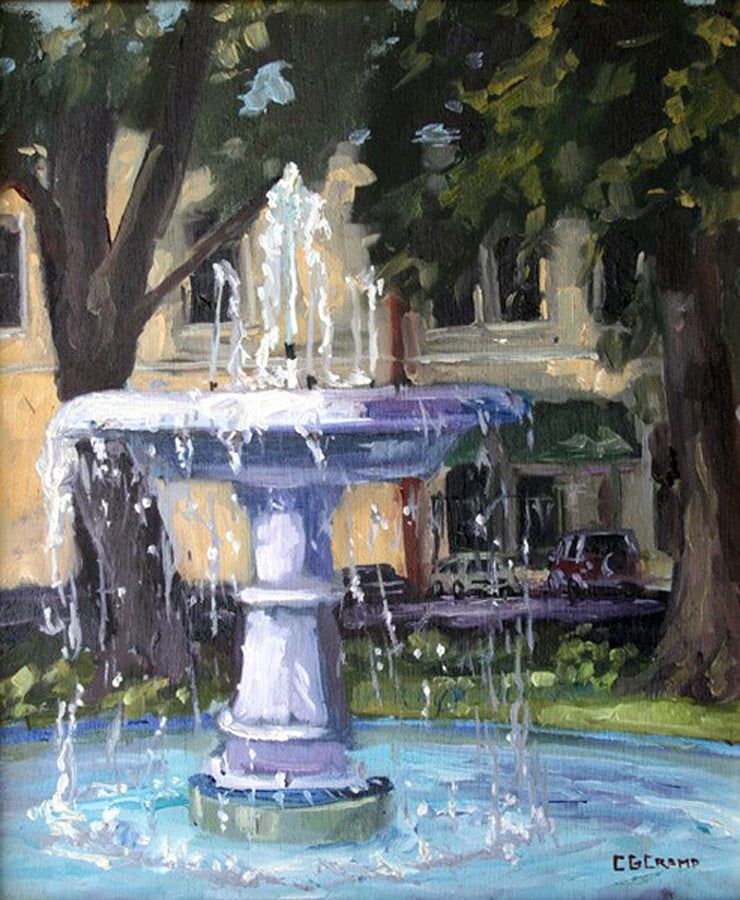"""Orange Fountain""  ---  8"" x 10"" ---  Oil"