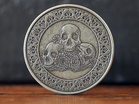 Calaveras Antique Silver Finish Coin
