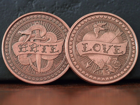 Coin-Solid Copper Love or Hate Coin