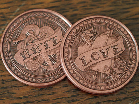 Coin-Love or Hate Solid Copper Coin