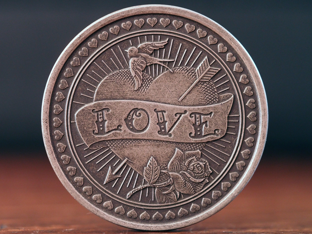 Love or Hate Antique Silver Finish Coin