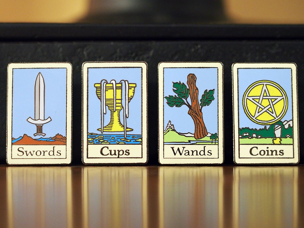 Set of 4 Tarot Hard-Enameled Pins