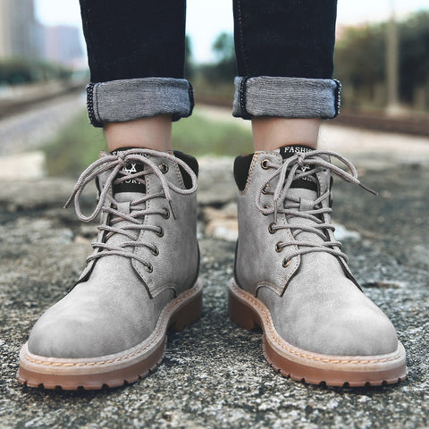 Image of WINTER WARM LEATHER MEN BOOTS