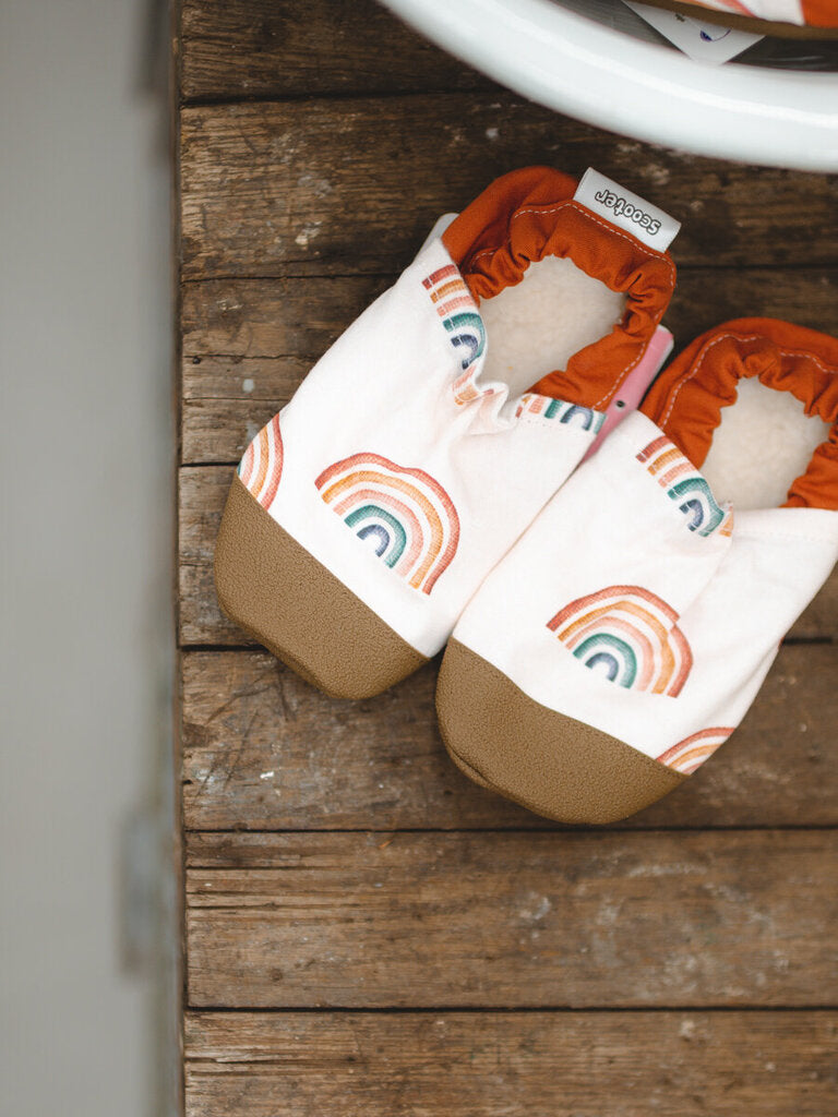 neutral rainbow baby shoes
