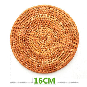 Rattan Placemat Coaster Kitchen Table Bowl Mat Durable Hand Woven Insulation Coffee Cup Coaster Teapot Mat 4 Sizes