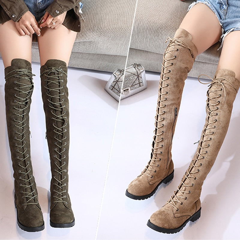 2019 New Sexy Ladies Lace Up Over The Knee Boots Plus Size 43 Platfro C Xi