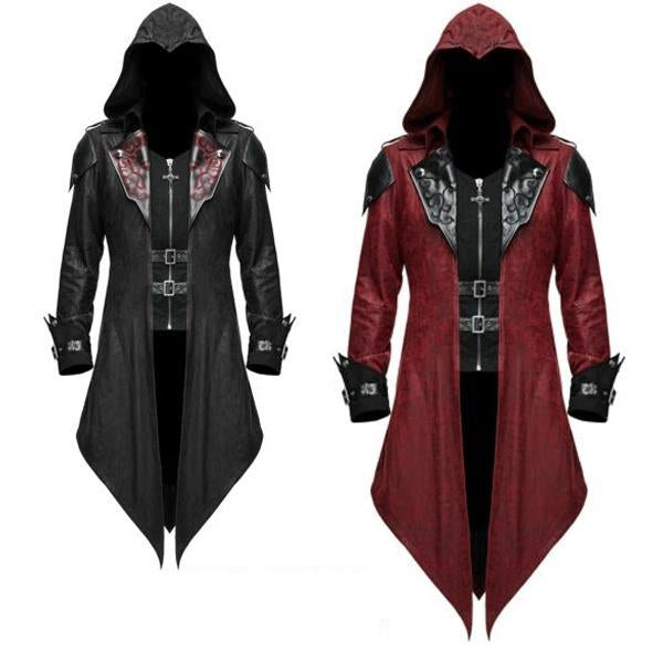 New Fashion Devil Fashion Mens Gothic Hooded Jacket Coat Red Black