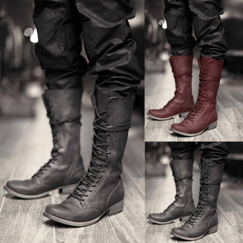2019 Mens Knee High Boots Medieval Lace