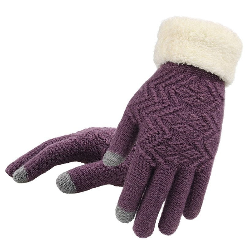 Women Winter Warm Mitten Gloves Thickened Touch Screen Phone Full Fingers Glove