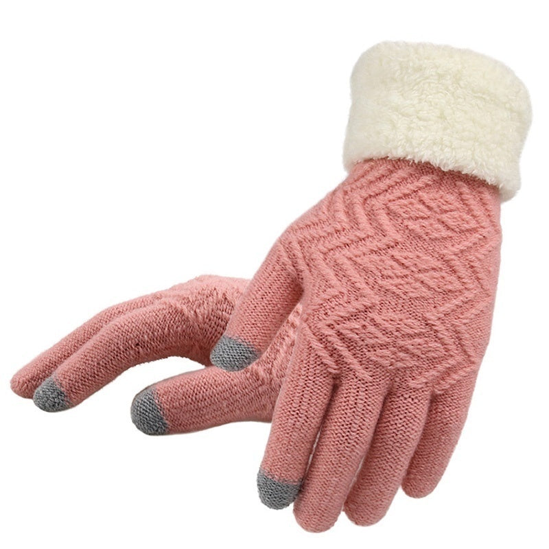 Autumn Winter Wool Cashmere Knitted Gloves Full Finger Mittens Touch Screen