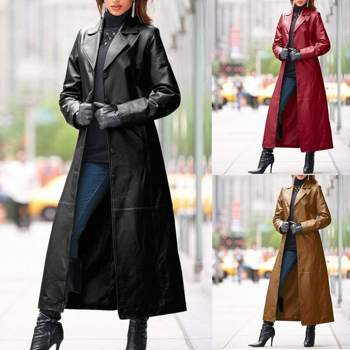 Women Long Leather Jacket Casual Loose Button Solid Long Trench Coats Steampunk Gothic Lapel Jackets Biker Jacket